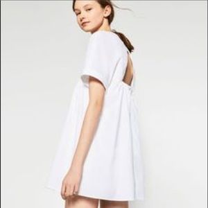 Zara White V-neck poplin Romper Dress
